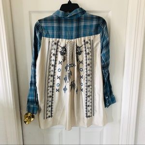 Plaid blue blouse with embroidered back size small